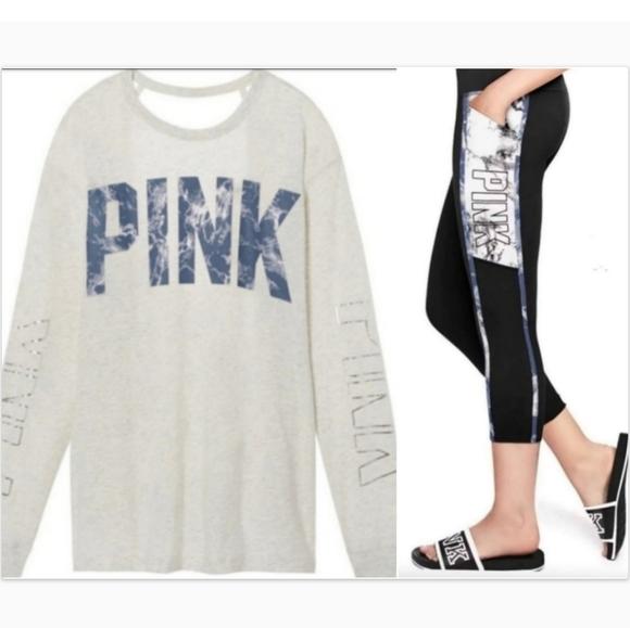 Pink Victoria's Secret Blue Marble Leggings Outfit
